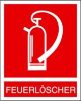 Symbol, Feuerlöscher mit Schriftzug nur noch Restbestände vorhanden