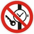 Symbolschild, Mitführen von Metallteilen und Uhren verboten