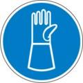 Hinweisschild, Handschuhe mit Pulsschutz benutzen