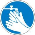 Hinweisschild, Hände waschen