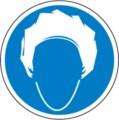 Hinweisschild, Kopfhaube benutzen