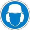 Hinweisschild, Gehör- und Kopfschutz benutzen