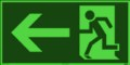 KNS Fluchtwegzeichen, Rettungsweg links nach ISO 6309