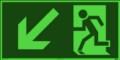 KNS Fluchtwegzeichen, Rettungsweg links abwärts nach ISO 6309
