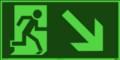 KNS Fluchtwegzeichen, Rettungsweg rechts abwärts nach ISO 6309