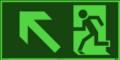 KNS Fluchtwegzeichen, Rettungsweg links aufwärts nach ISO 6309