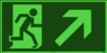 KNS Fluchtwegzeichen, Rettungsweg rechts aufwärts nach ISO 6309