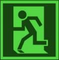 KNS Rettungsschild, Rettungsweg / Notausgang links nach BGV A8 E Restbestände vorhanden