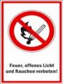 Textschild, Feuer, offenes Licht und Rauchen verboten