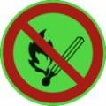 KNS-Symbolschild, Feuer, offenes Licht und Rauchen verboten